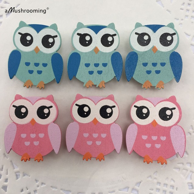 6 Pieces Lot Pink And Blue Owl On Wooden Clothespins Baby Shower Bridal