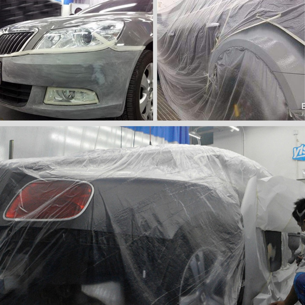 PE Masking Film Dust Proof Spraying Film For Car Painting Pre-Taped Protection Film Cover For Home Painting