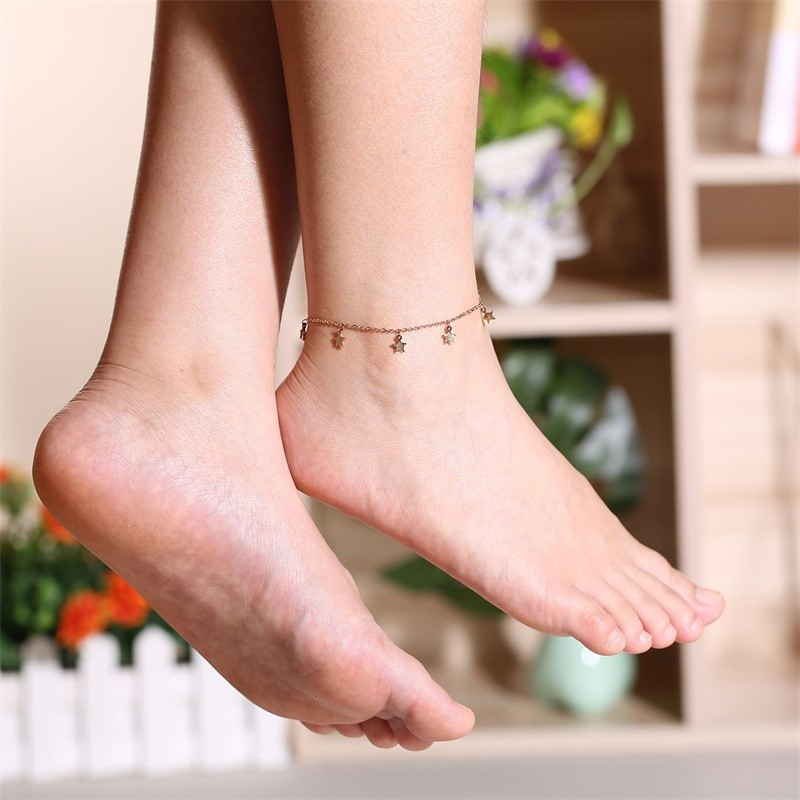 Trendy Stars Charm Anklets for Women Rose Gold Color Stainless Steel Length Adjustable
