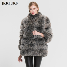 Womens Fox Fur Coats Pocket Winter Thick Warm Outwear Fashion Real Genuine Top Quality Crop Jacket S7363