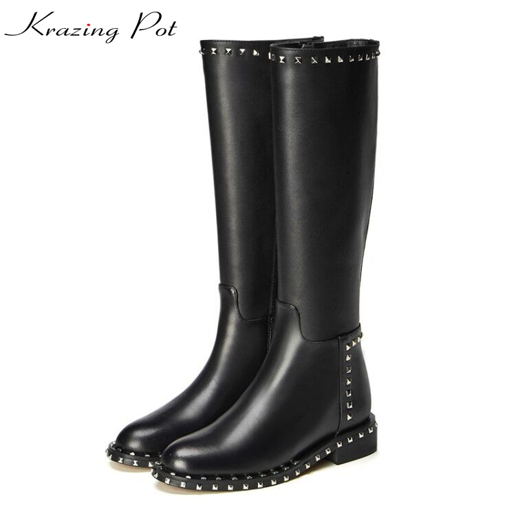 Krazing pot full grain leather rivets decoration riding boots winter keep warm med heels beauty fashion over-the-knee boots L23 krazing pot 2018 fashion full grain leather solid round toe rivets decoration thigh high boots streetwear riding knee boots l1f3