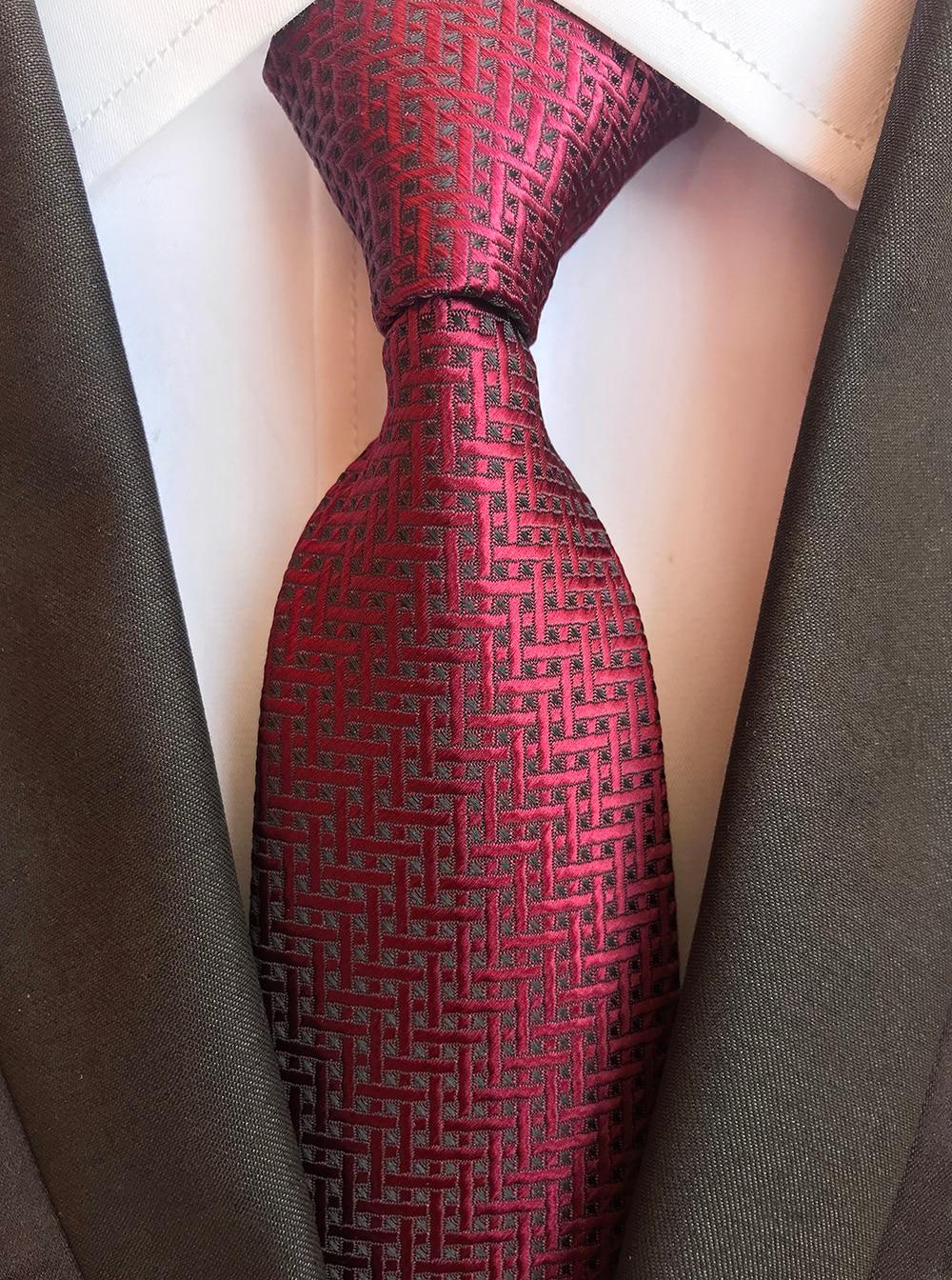 Classic 8cm Ties for Man 100% Silk Tie Luxury Striped Plaid Checks Business Neck Tie for Men Suit Cravat Wedding Party Neckties 4