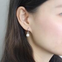 South Korea female fashion Sterling Silver Buckle earrings women earrings natural pearls ear S925 silver dew