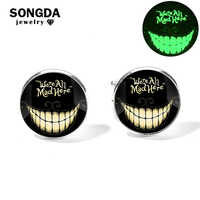 SONGDA Cheshire Cat Cufflinks Sleeve Button Alice in Wonderland We're All Mad Here Smile Cat Luminous Glass Gem On Off Cufflinks