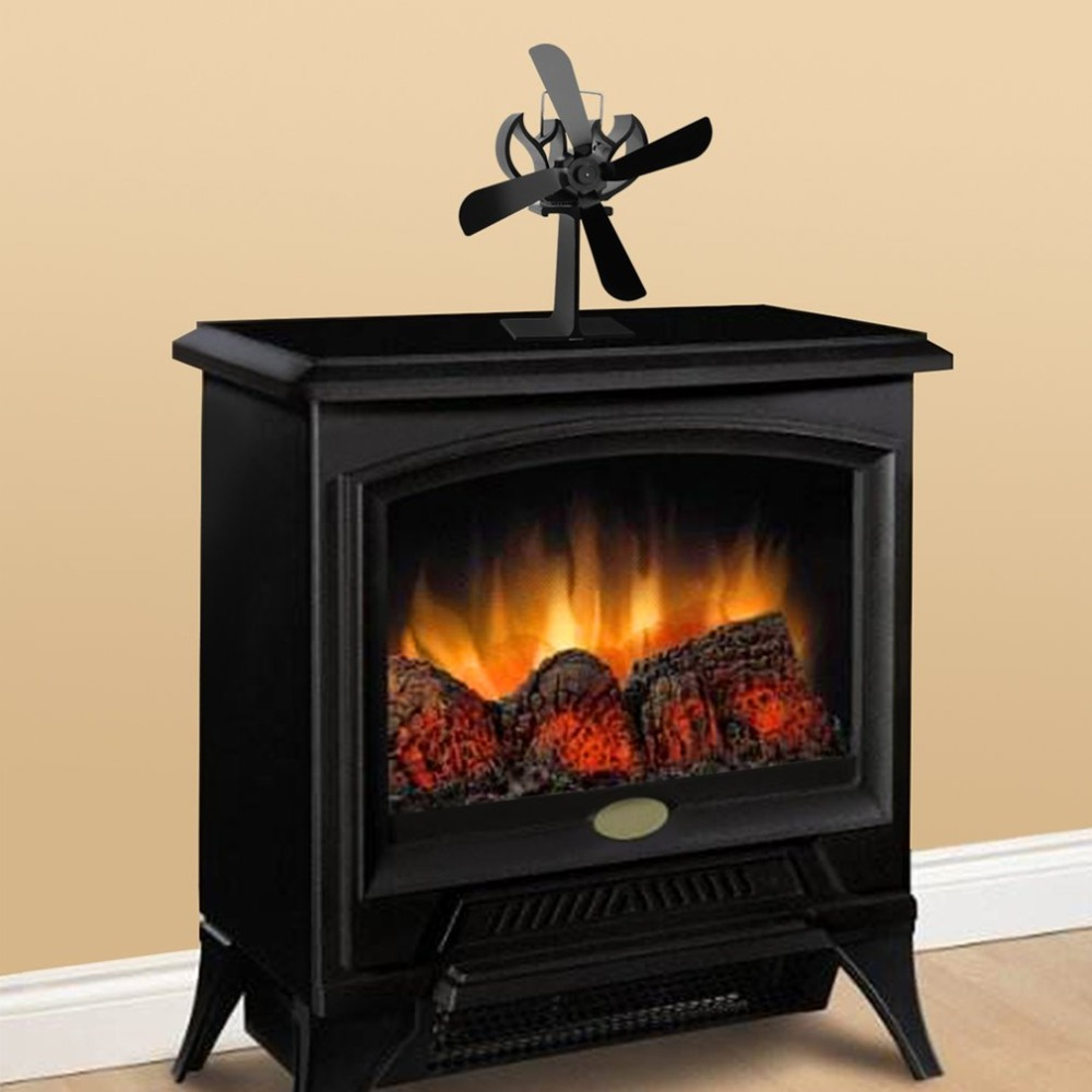 Black Heat Powered 4 Blades Stove Fan Log <font><b>Fireplace</b></font> Wood Burner Eco Ultra Quiet Blower No Battery Or Electricity