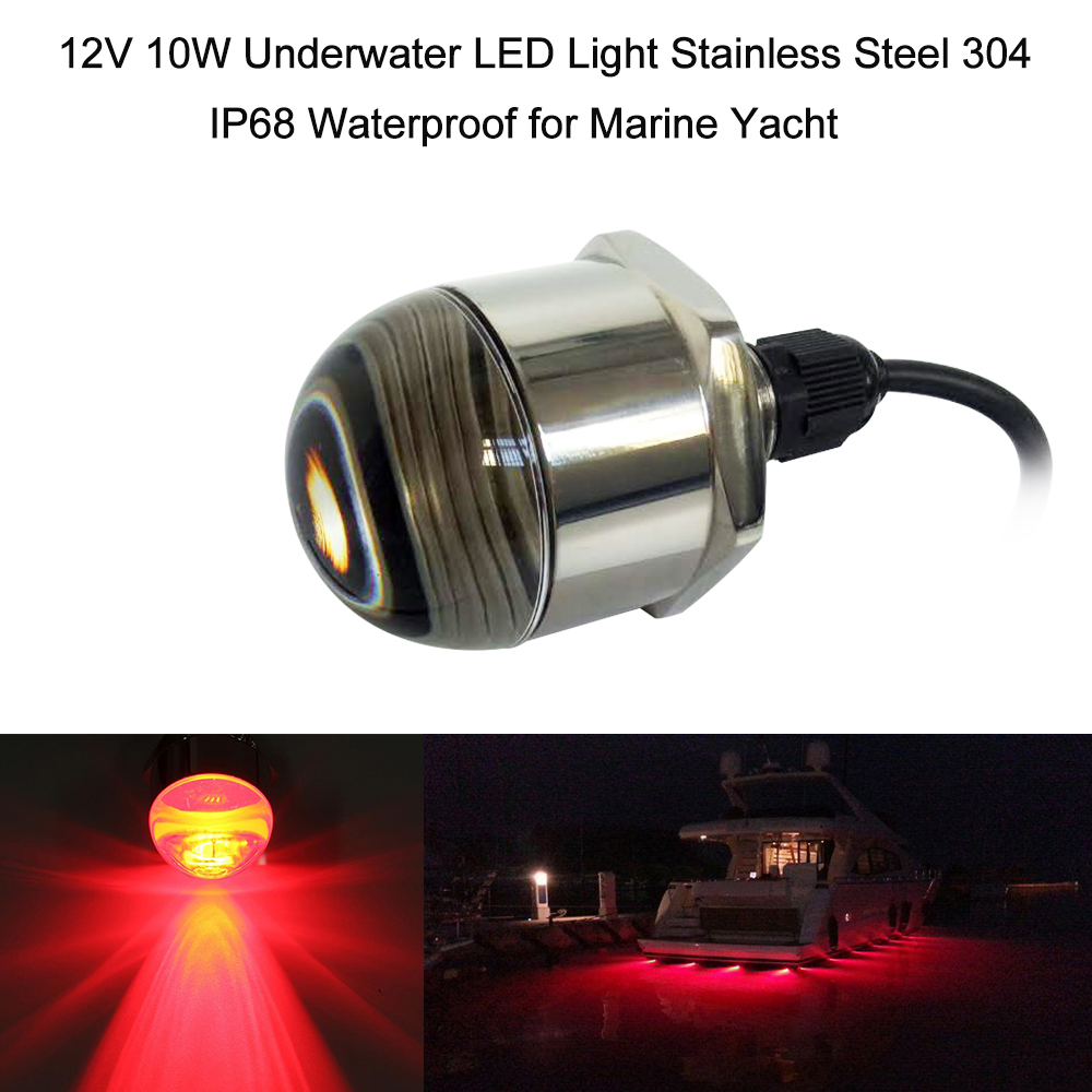 12V 10W Underwater LED Light Stainless Steel 304 IP68 Waterproof Signal Light for Marine Boat Yacht great anti corrosive effect