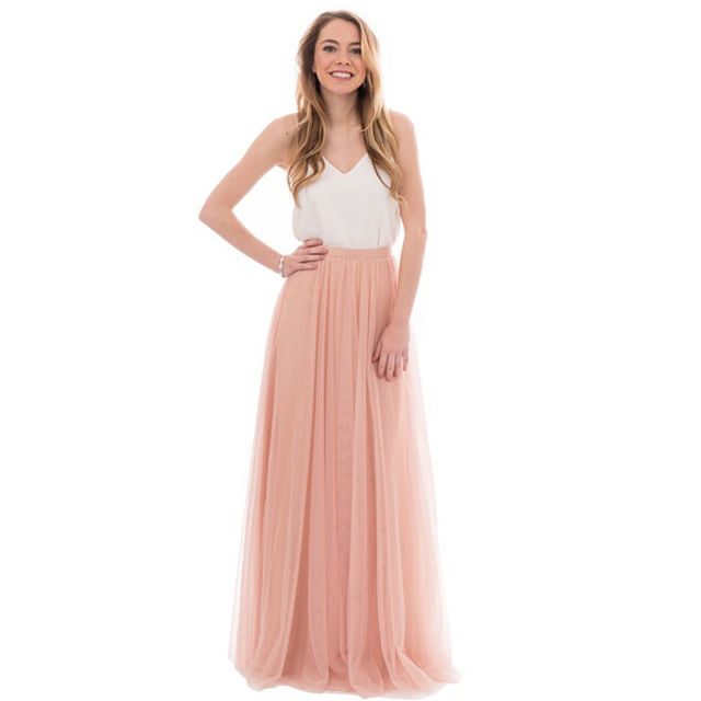 f65d6839 Dynamic Peach Pink Long Tulle Skirts For Bridesmaid To Wedding Party Zipper  Style Tutu Skirt For Women Custom Made High Quality
