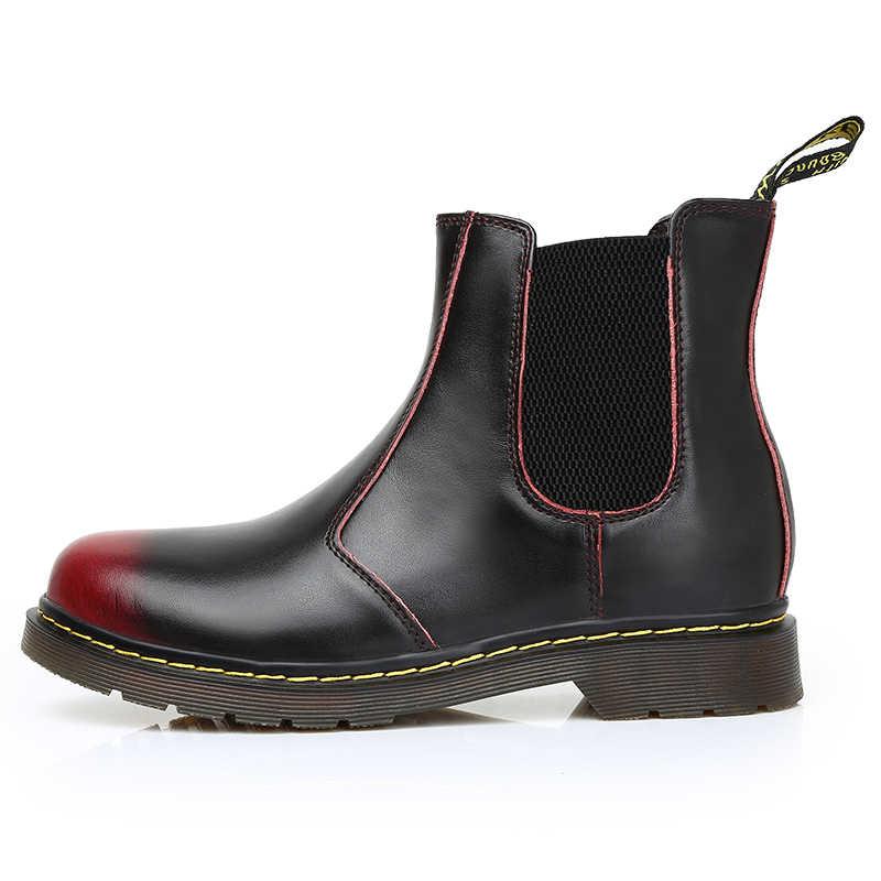 a488fac6855b 2018 Повседневное новые модные Мужские ботинки Dr martins Челси ботинки для  любителей черный Демисезонный Patenr кожа