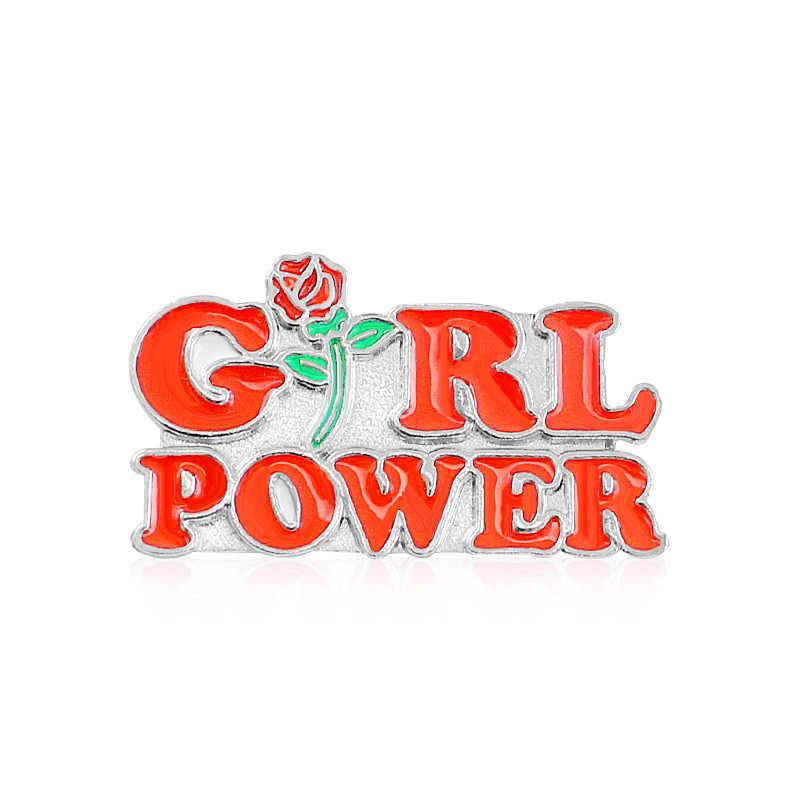 Pin Merah Huruf Rose Lencana Wanita Lebih Tinggi Feminisme Bros Inspirasional Wanita Bros Pin Topi Tas Baju Kerah Pin Perhiasan