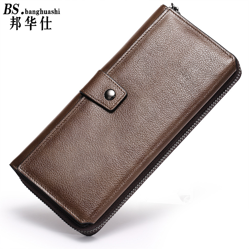 New Luxury Brand 100% Top Genuine Cowhide Leather High Quality Men Long Wallet Coin Purse Vintage Designer Male Carteira Wallets bvp luxury brand weave plain top grain cowhide leather designer daily men long wallets purse money organizer j50