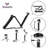 SnowHu For Gopro Accessories Tripod 3 Way Monopod Tripod Mount Extension Arm For Go Pro Hero