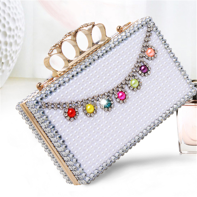 Women Pearl Handbags Clutch Bags Crystal Finger Ring Ladies Evening Bags Diamonds Wedding Bridal Luxury Purse Small Shoulder Bag diamonds small clutch purse crystal beaded handbags chain shoulder evening finger ring bags for wedding party bag red gold blue