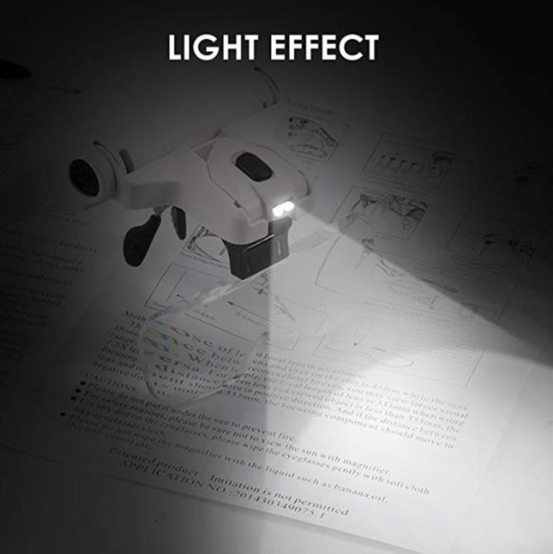 Glasses Magnifier Glass, 5 Lens Loupe Eyewear Magnifier With Led Lights Lamp,Headband Led Magnifying Glass For Reading, Looking