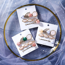 2019 New Vintage Acrylic Resin Heart Stone Hair Clips Sets For Women Oval Simulated Pearl Metal Hairpins Barrettes Wholesale