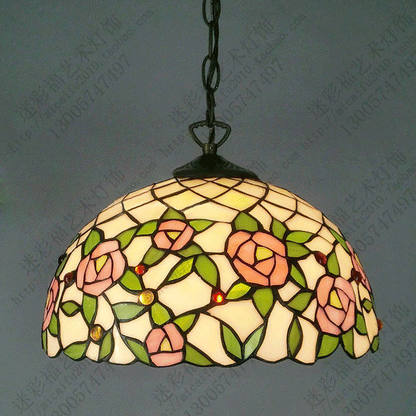 16inch tiffany style  Rose  glass pendant light bedroom study color glass  lamp E27 110-240V16inch tiffany style  Rose  glass pendant light bedroom study color glass  lamp E27 110-240V