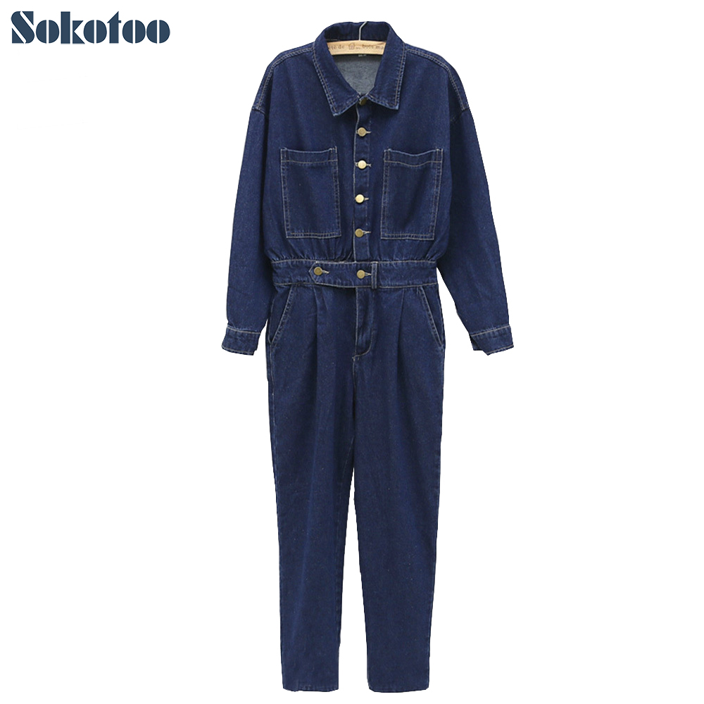 Sokotoo Women s loose casual turn down collar full sleeve denim overalls Lady s fashion jumpsuits