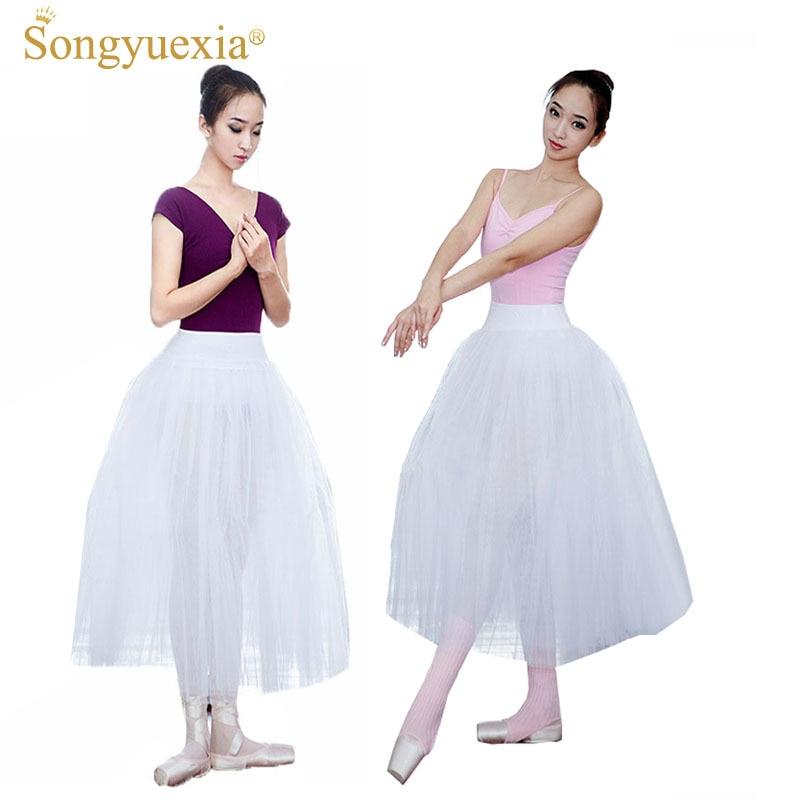 SONGYUEXIA Woman Ballet Long Skirt Adult White Ballet Tutu Skirt Artistic Gymnastics Dress Skirt Long Professional Ballet155-175