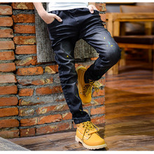 Fashionable Jeans For Boys Children's Clothing Boy Jeans 100% Cotton Fashion Paint Point Elastic Straight Boy Cowboy Pants