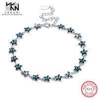 Blue Star Crystal From Swarovski Bracelet 925 Sterling Silver Charm Bracelet For Women Top Quality Fine Jewelry Anniversary Gift