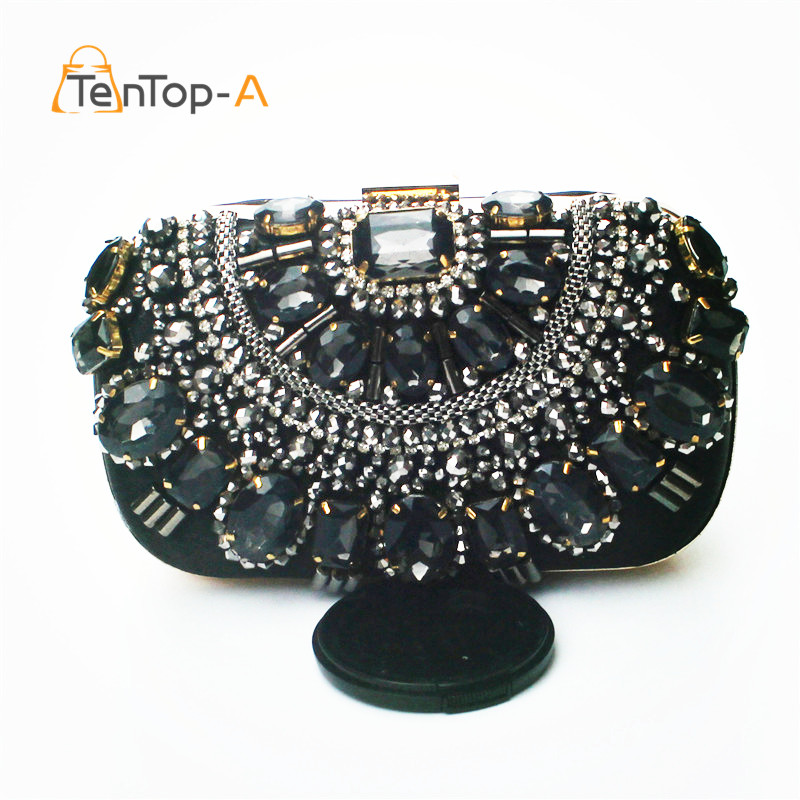 TenTop-A Retro Beaded Black Evening Bag Cool Handmade Beading Clutch Bags Glass Beads Satin Wedding Bags with Chain High Quality термосумка премиум класса pv cool bag 38 a bk 6257