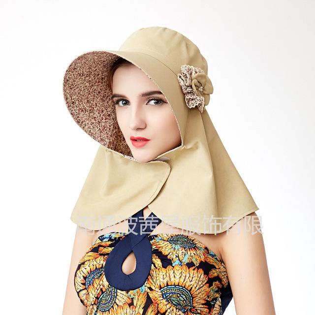 2016 Nuevas Mujeres de Corea Del Verano Sombrero Cuello Protección UV Protector Solar A Prueba de Viento Completo Casquillo de La Señora Visera B-2515