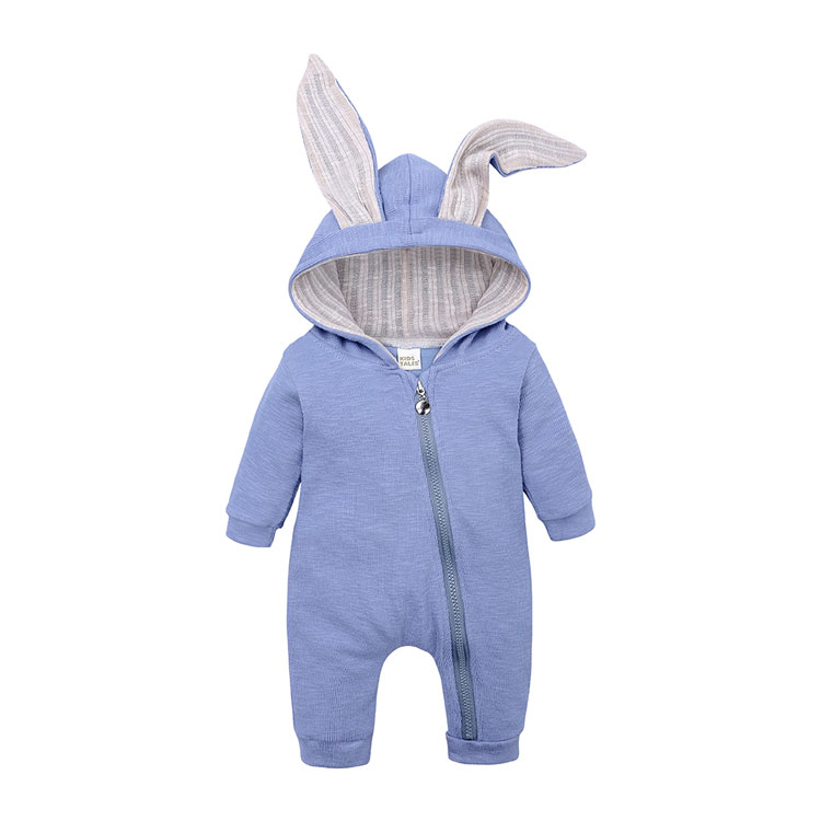 Cartoon Bunny Baby Hoodie Outfits Rompers Cotton Zipper Baby Rompers Spring Autumn Newborn One-Pieces Infant Costume 3-24 Months | Happy Baby Mama
