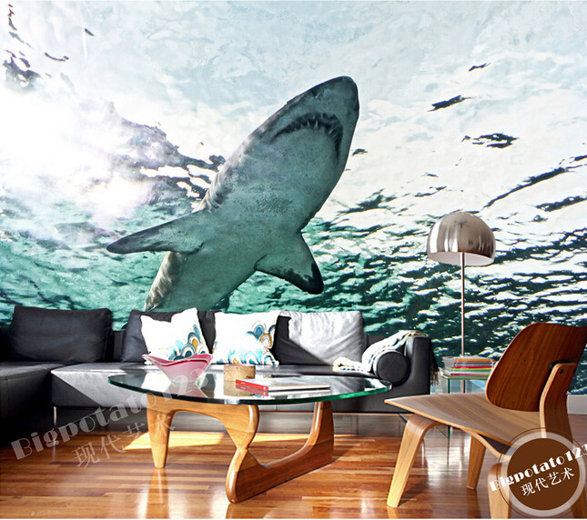 Custom 3d large murals marine aquarium shark living room for 3d aquarium wallpaper for bedroom