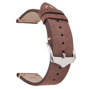 Image 5 - BEAFIRY אמיתי להקת שעון עור 18mm 19mm 20mm 22mm כהה חום כהה כחול אור חום אפור זמש עור שעון רצועות