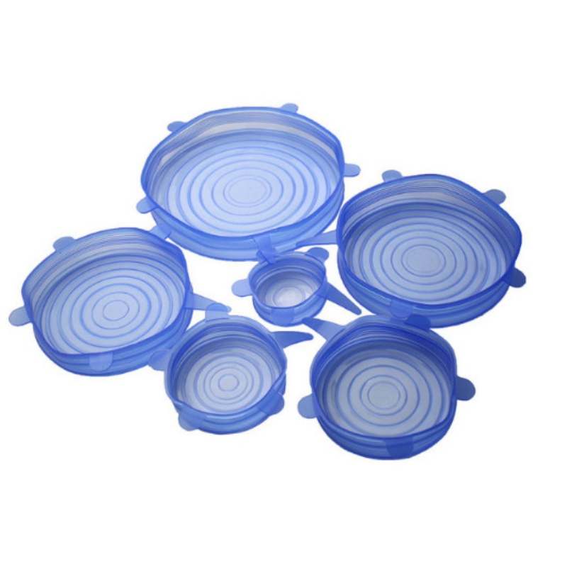 6Pcs Sets Multi functional Silicone Stretch Air tight Vacuum Lids Keep Fresh Leak Proof Food Bowl