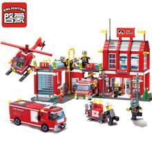 ENLIGHTEN City Fire Station Rescue Control Regional Bureau Fit Figures Police DIY Toys Building Blocks Legoes Bricks Gift