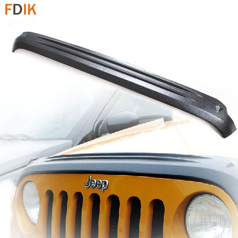 Black Hood Engine Bonnet Bug Shield Wind Air Deflector Guards Protector for Jeep Wrangler 2007-2017 custom hood protector black
