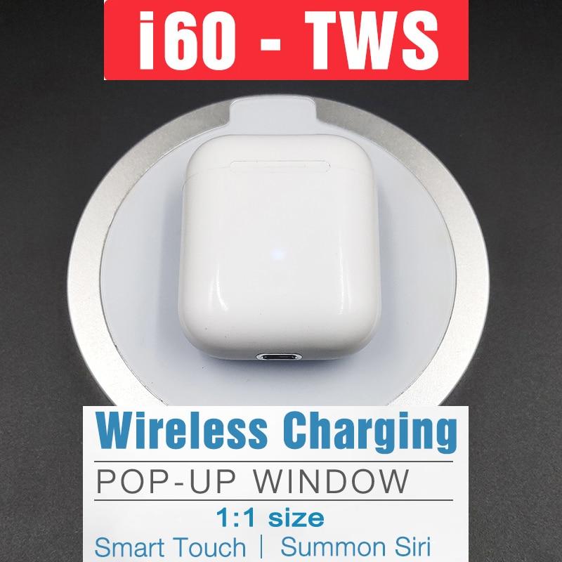 i60 TWS Pop up Separate use Wireless Earphone Wireless Charging Bluetooth 5.0 Earphones Bass Earbuds PK i10 tws i20 tws i12 i80
