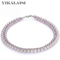 Yikalaisi 2017 5 6 мм/7 8mmpearl jewelry100 % натурального пресноводного жемчуга 925 стерлингов Серебряные ювелирные изделия для Для женщин девочек Best подарки