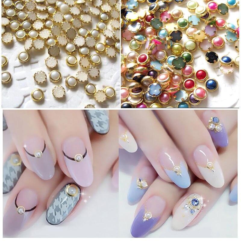50PCS Half Round Pearls with Metal Rhinestone 3D Nail Glitter DIY Nail Art Decoration