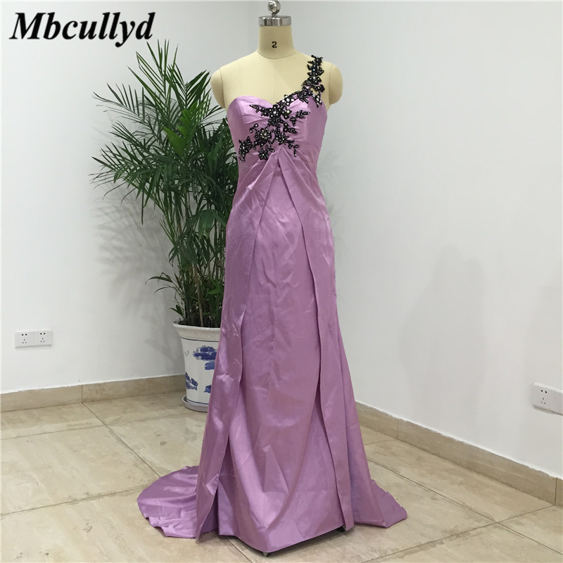 Mbcullyd Ruffles One Shoulder Mermaid Bridesmaid Dresses Purple Stretchy Satin 2019 Formal Long Wedding Guest Party Dress Cheap