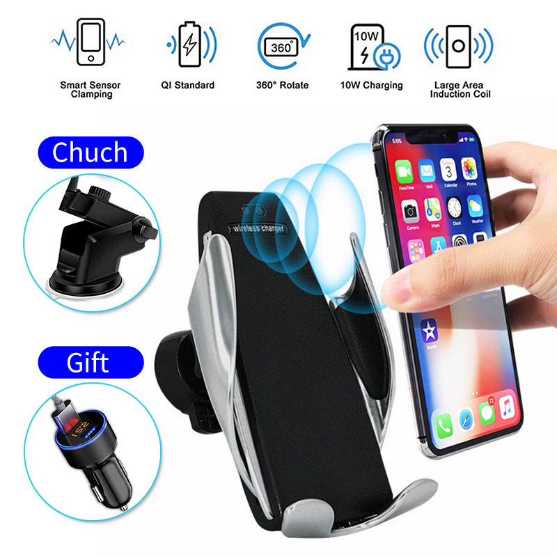 Qi Wireless Charger For iPhone XS Max 8 Fast Wirless Charging Car Phone Holder USB Wireless