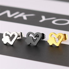 Korean simple fashion heart earrings stainless steel  flowers female jewelry womens accessories gifts wholesale