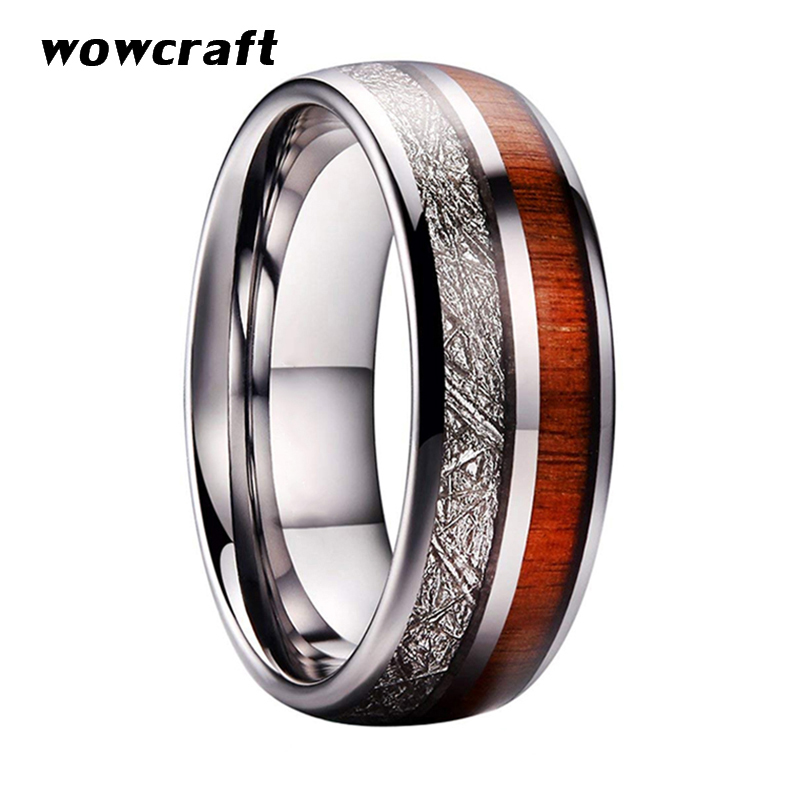 Silver Tungsten Carbide Rings Koa Wood Meteorite Inlay