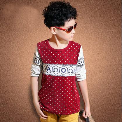 Los nuevos chicos manga larga o-cuello de la camiseta 2015 de los niños polka dot otoño de ropa tops de 8-12 años de adolescente de moda embroma la camiseta