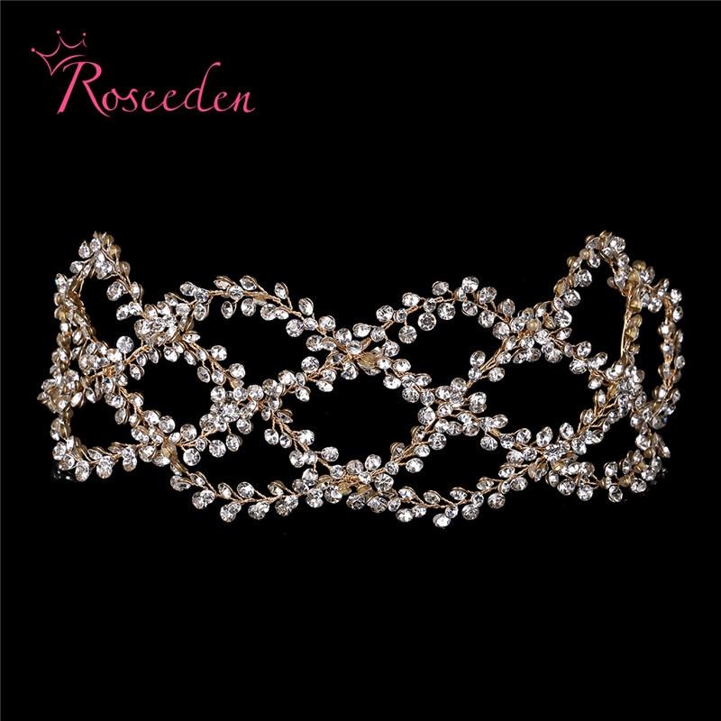 Image 5 - Antique Silver Gold Wedding Bridal Hair Vine Headband Full Rhinestones Floral Wedding Headpiece Hair Accessories Handmaid RE3284Hair Jewelry   -