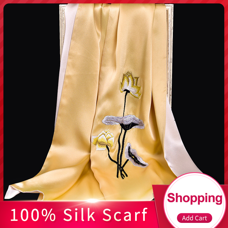 100% Pure Silk Scarf Luxury 2019 Hangzhou Silk Shawls and Wraps for Women Handmade Embroidery Natural 16 m/m Real Silk Scarves