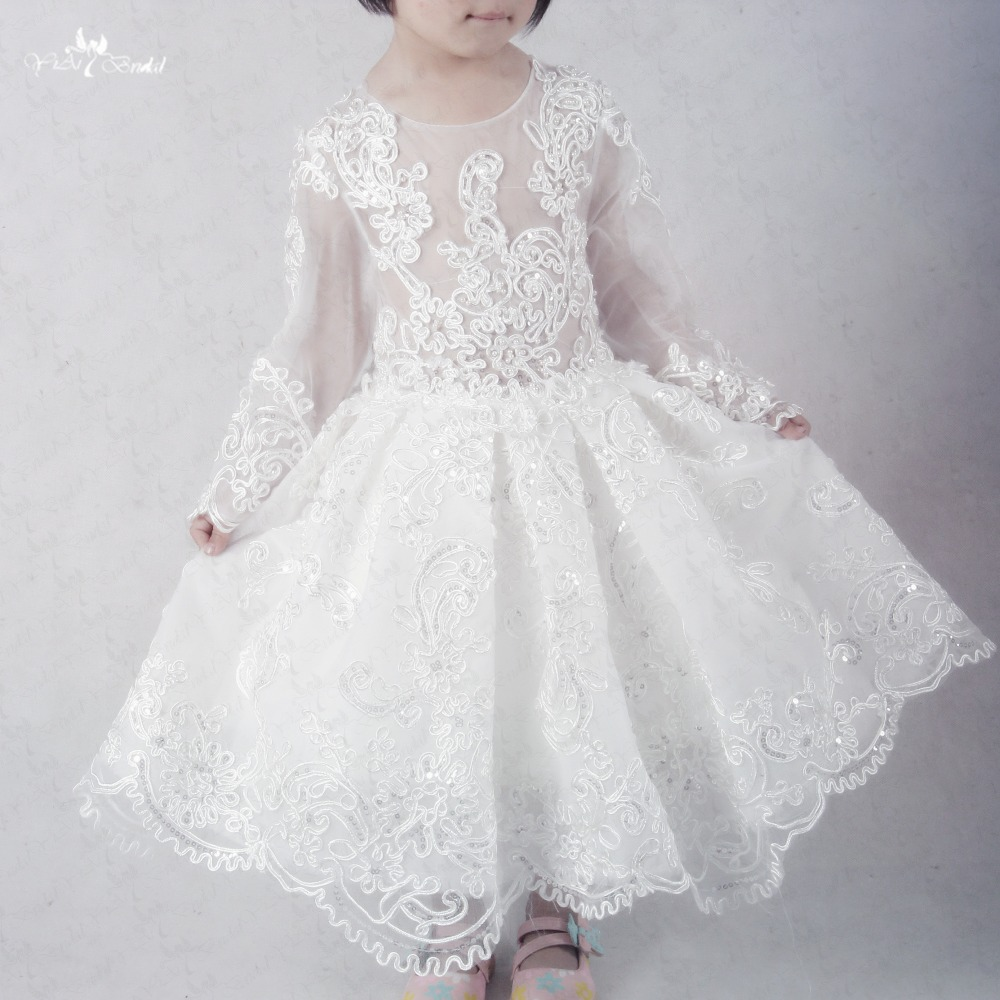 FG45 Vestido Daminha   Girls   Pageant   Dresses   Long Sleeve Communion   Dresses   Ivory Lace   Flower     Girl     Dress   For Weddings First