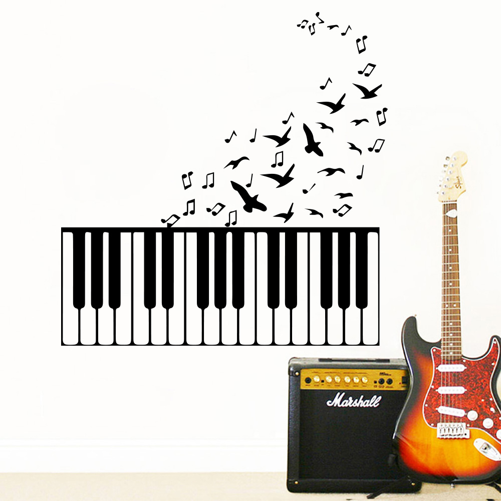 Playing Piano Vinyl Decal Sticker Classical Music Light Switch Kids Nursery