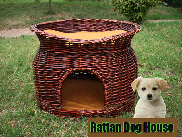 Rattan Teddy Puppy Dog And Kitty Cat Pet House Willow Wicker Cat