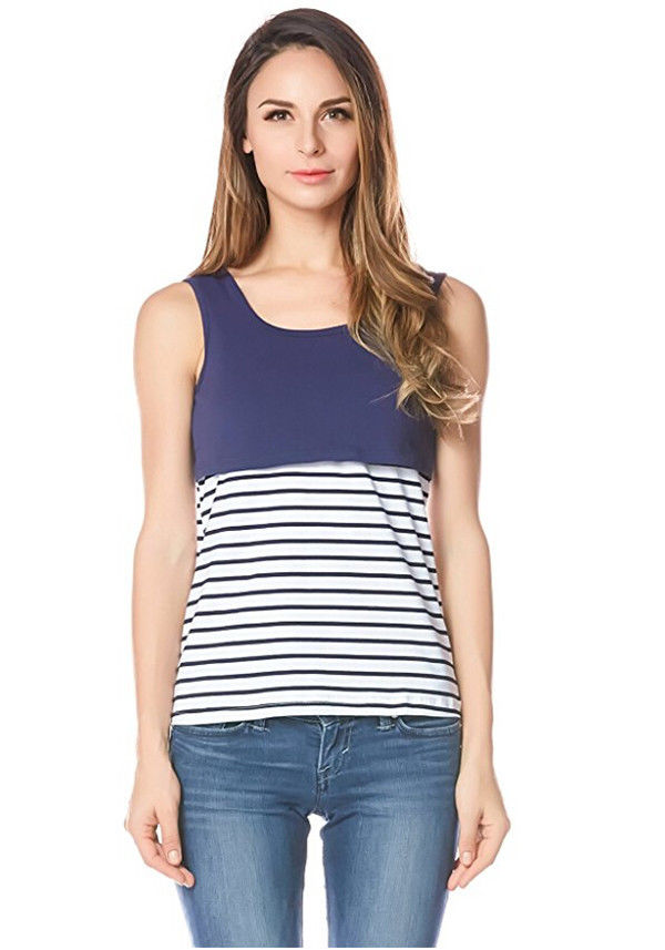 Stripe Summer Maternity female T-shirt Nursing Top Cotton Women Breastfeeding sleeveless Tee Tank S M L XL