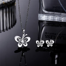 FGifter Beautiful Silver Butterfly Pendant Necklace Earrings Jewelry Sets for Women Girls Stainless Steel Jewelry Wholesale(China)