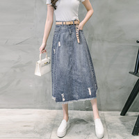 Girl denim skirts Washed wear in the new loose loose thin cowboy A word skirt high deal wild skirt