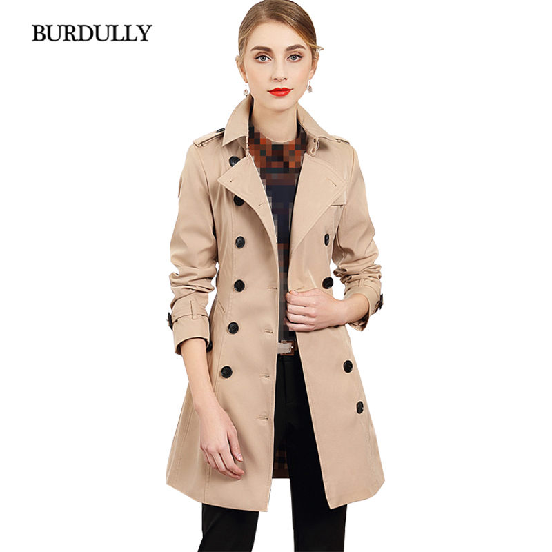 BURDULLY 2019 Spring New Women's Turn-down Collar Casual   Trench   Double Breasted Slim Full Sleeve Coat Regular England Style
