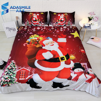 3D Christmas Santa Claus Bed Linens Pillowcases Super Soft Comfortable Duvet Cover Sets Twin Full King Childrens Bedding Set