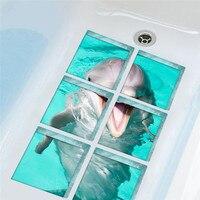 Modern Style Simple Creative 3D DIY Bathtub Paste Sticker With Dolphin Pattern Bathroom Shower Room Wall